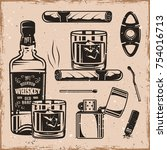 whiskey and cigars set of... | Shutterstock .eps vector #754016713