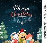 vector hand drawn christmas... | Shutterstock .eps vector #754017403