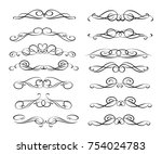 set of decorative elements.... | Shutterstock .eps vector #754024783