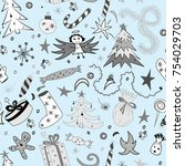 seamless pattern of hand drawn... | Shutterstock .eps vector #754029703