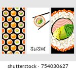 set of japanese food cards. set ... | Shutterstock .eps vector #754030627