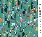 flat  design people crowd ... | Shutterstock .eps vector #754049017