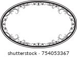 decorative vector oval floral... | Shutterstock .eps vector #754053367