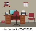 workplace of office worker.... | Shutterstock .eps vector #754055353
