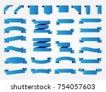 ribbon banner set.vector blue... | Shutterstock .eps vector #754057603