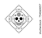 vector ornamental skull and... | Shutterstock .eps vector #754060057