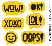 wow  xoxo  lol  oops  vector... | Shutterstock .eps vector #754060747