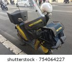 Small photo of Rome, Italy - November 9, 2017: Motorbike of Poste Italiane, Italian Post Service