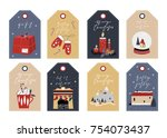 christmas tags set ... | Shutterstock .eps vector #754073437