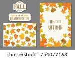 thanksgiving greeting card... | Shutterstock .eps vector #754077163