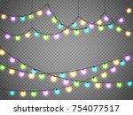 christmas lights isolated on... | Shutterstock .eps vector #754077517