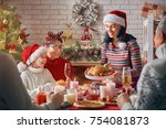 merry christmas  happy family... | Shutterstock . vector #754081873