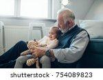 close up image of an elderly... | Shutterstock . vector #754089823