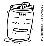 beer can cartoon   vector and... | Shutterstock .eps vector #754090063