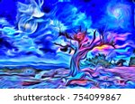 surreal digital painting. old... | Shutterstock . vector #754099867