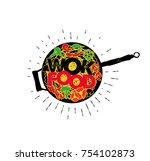 wok pan. asian fast food. hand... | Shutterstock .eps vector #754102873