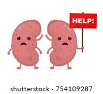 sad unhealthy sick kidneys ... | Shutterstock .eps vector #754109287