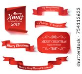 set of six red  merry christmas ... | Shutterstock .eps vector #754112623