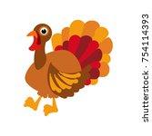 thanksgiving turkey on the... | Shutterstock .eps vector #754114393