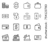 thin line icon set   coin stack ... | Shutterstock .eps vector #754123783