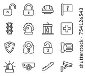 thin line icon set   unlock ... | Shutterstock .eps vector #754126543