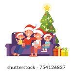 happy family celebrate merry... | Shutterstock .eps vector #754126837