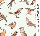 pattern of the drawn wild birds | Shutterstock .eps vector #754129633
