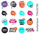 set of flat design sale stickers | Shutterstock .eps vector #754132783