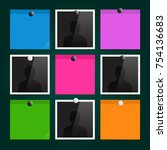 photo frames and sticky notes... | Shutterstock .eps vector #754136683