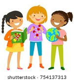 curious girls interested in... | Shutterstock .eps vector #754137313