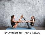 two attractive sport girls...   Shutterstock . vector #754143607