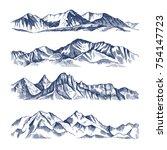 hand drawn illustrations of... | Shutterstock .eps vector #754147723