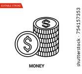 money icon. thin line vector... | Shutterstock .eps vector #754157353