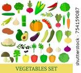 a set of vegetables. organic... | Shutterstock . vector #754159087