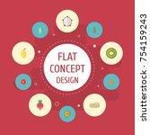 flat icons muskmelon  turnip ... | Shutterstock .eps vector #754159243