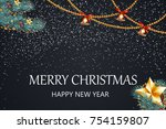 merry christmas. happy new year.... | Shutterstock .eps vector #754159807