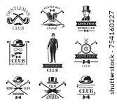 gentleman club. vector badges...   Shutterstock .eps vector #754160227