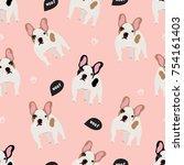 cartoon french bulldog. vector... | Shutterstock .eps vector #754161403