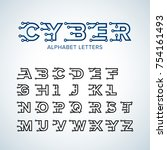 cyber techno type font alphabet.... | Shutterstock .eps vector #754161493