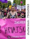 zagreb  croatia   june 11  2016 ... | Shutterstock . vector #754165063