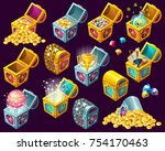 set of  cartoon isometric... | Shutterstock .eps vector #754170463