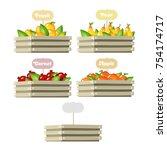 crate of fruit | Shutterstock .eps vector #754174717