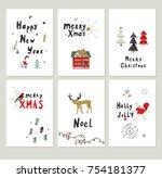 merry christmas vector cartoon... | Shutterstock .eps vector #754181377
