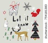 merry christmas vector cartoon... | Shutterstock .eps vector #754181383
