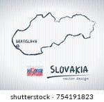 slovakia vector map with flag...   Shutterstock .eps vector #754191823