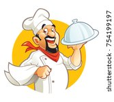 smiling chef cartoon character... | Shutterstock .eps vector #754199197