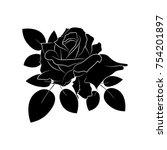 black silhouette roses and...   Shutterstock .eps vector #754201897