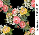 vintage seamless pattern with... | Shutterstock .eps vector #754202197