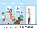vet clinic ward with doctor ... | Shutterstock .eps vector #754208947