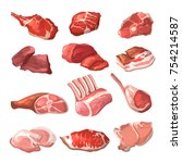 lamb  pork beef  and other meat ... | Shutterstock .eps vector #754214587